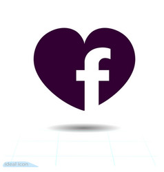 heart black icon love symbol social facebook vector image