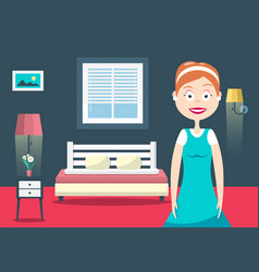 household woman in hotel room flat design vector image