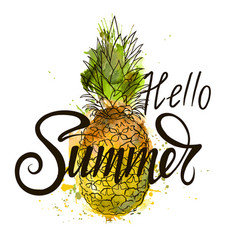 inscription hello summer on pineapple vector image