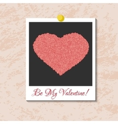 instant photo card with heart from pink vector image