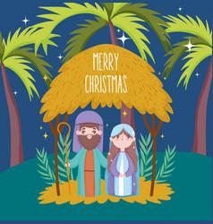 Joseph and mary hut palms manger nativity merry vector