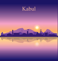 Kabul city silhouette on sunset background vector