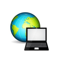 Laptop with planet vector image