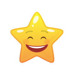 Laughing star shaped comic emoticon vector