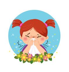 Little girl having allergy from pollen vector