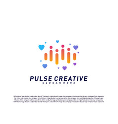 Love medical pulse logo design concepthealthcare vector