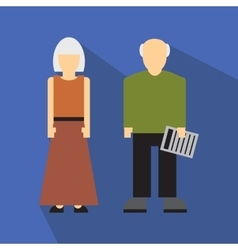 Man and woman in old age flat vector