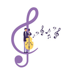 Man playing cello note music vector