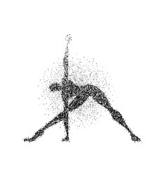 Man yoga pose silhouette in particle splash art vector