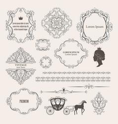 mega set collections vintage design elements vector image