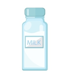 Milk in a glass bottle icon flat style Isolated vector image