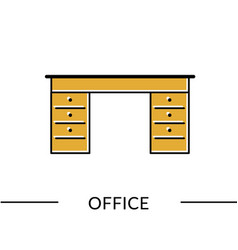 office desk furniture line icon vector image