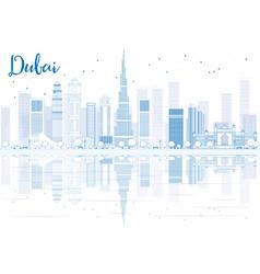 Outline Dubai skyline with blue buildings vector image
