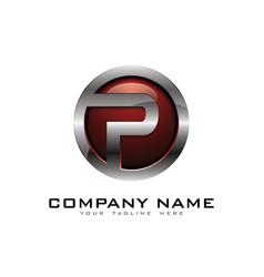 p 3d circle chrome letter logo icon design vector image