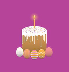 Painted easter eggs with easter cake vector