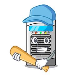 Playing baseball mascot air cooler mounted on wall vector