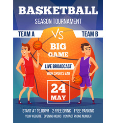 Poster invitation at basketball championship vector