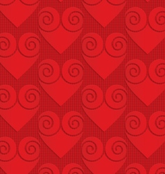 Red solid swirly hearts on checkered background vector