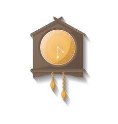 Retro wooden wall clock icon vector