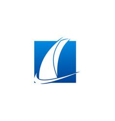Sail boat abstract logo vector