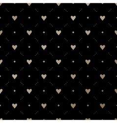 Seamless gold pattern with hearts on a black vector image vector image