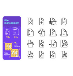 set file management simple lines icons paper vector image