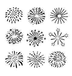 set hand drawn fireworks sunbursts isolated vector image