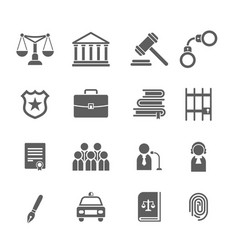 Set of black and white law and justice iconsjudge vector