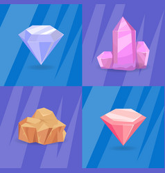 Set of crystals and minerals of different shapes vector