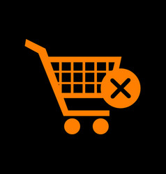 shopping cart with delete sign orange icon on vector image