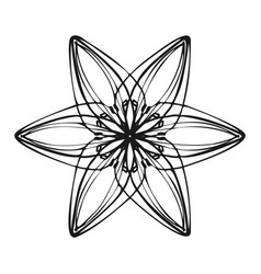 Six petal flower icon simple style vector