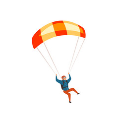 Skydiver flying with a parachute parachuting vector