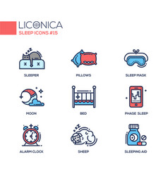 sleep - coloured modern single line icons set vector image