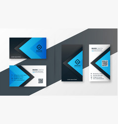 stylish blue modern business card design vector image