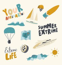 Summer extreme icons set adrenaline activity vector