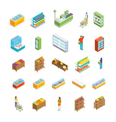 supermarket or shop icon set isometric view vector image