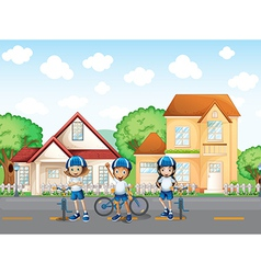 Three cute bikers at the road vector