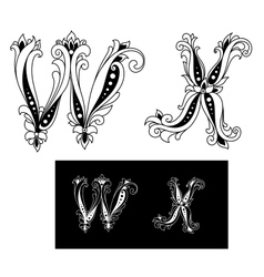 Title retro letters W and X vector image vector image