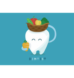 Vegetables of tooth for healthy vector image