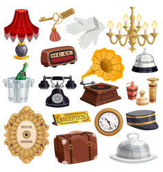 vintage hotel staff icon set vector image