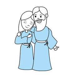 Virgin mary and saint joseph cartoon vector
