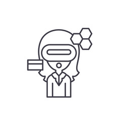 virtual reality business line icon concept vector image