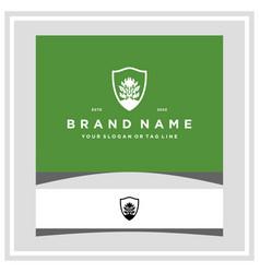 Warrior leaf shield logo design vector