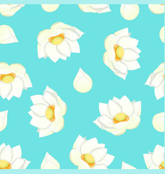 White indian lotus on blue background vector