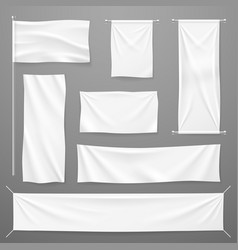 white textile advertising banners blank fabric vector image