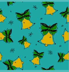 winter seamless pattern with jingle bells doodle vector image