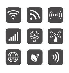 Wireless icons set white silhouettes on black vector image