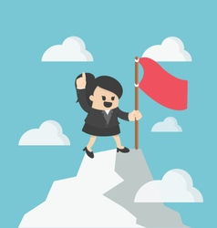 Woman flag on th to the mountain top Reaching vector