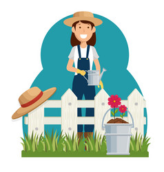 woman gardener avatar character icon vector image