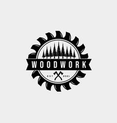 Woodwork carpentry company vintage badge logo vector
